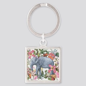 Elephant in jungle - watercolor artwork Keychains