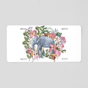 Elephant in jungle - waterc Aluminum License Plate
