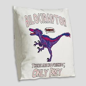 Bilociraptor - Speech Lable Burlap Throw Pillow