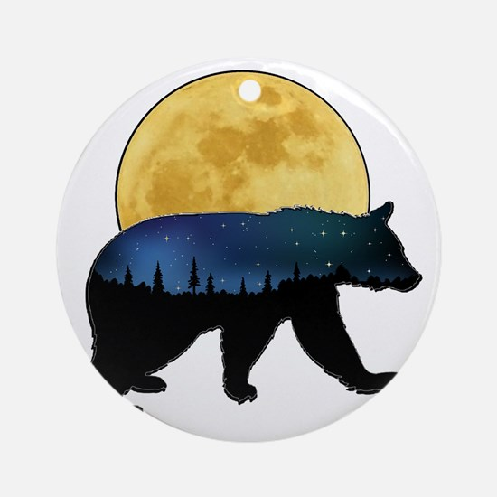 Funny Moose moon Round Ornament