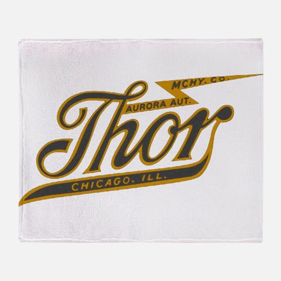 Thor Motorcycle Chicago Retro Throw Blanket