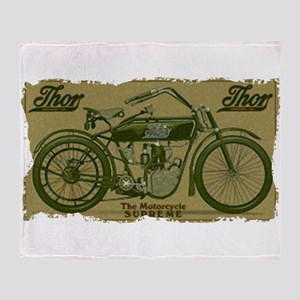 Thor Motorcycle Retro Logo Throw Blanket