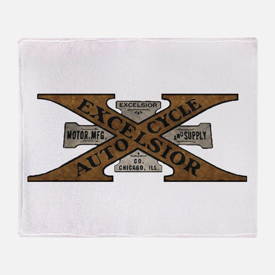 Excelsior Motorcycle Retro Logo Throw Blanket