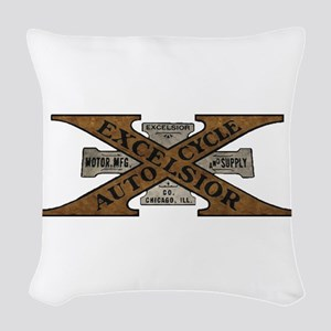 Excelsior Motorcycle Retro Logo Woven Throw Pillow