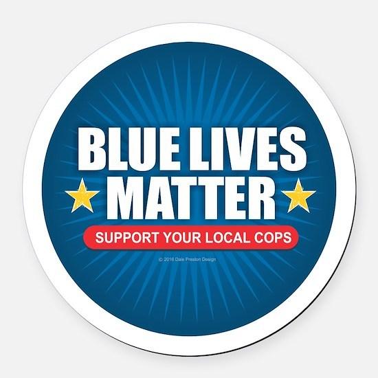 BLUE LIVES MATTER Round Car Magnet