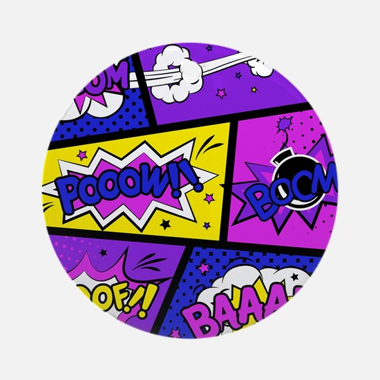Colorful Comic Book Panels Round Ornament