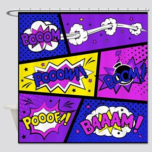 Colorful Comic Book Panels Shower Curtain