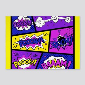 Colorful Comic Book Panels 5'x7'Area Rug
