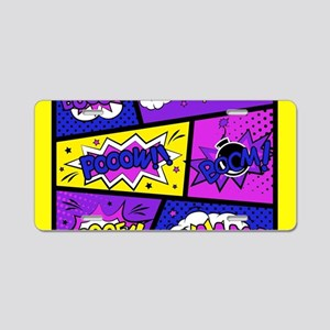 Colorful Comic Book Panels Aluminum License Plate