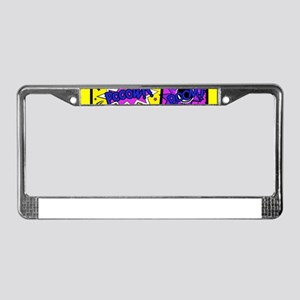 Colorful Comic Book Panels License Plate Frame