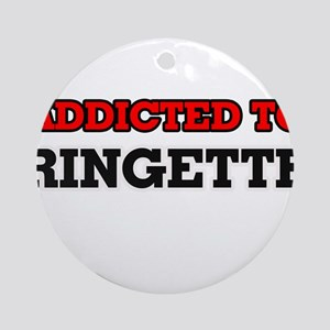Addicted to Ringette Round Ornament