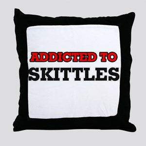 Addicted to Skittles Throw Pillow