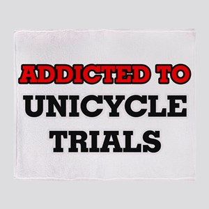 Addicted to Unicycle Trials Throw Blanket