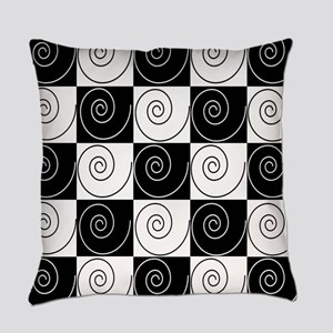 Black and White Abstract Everyday Pillow