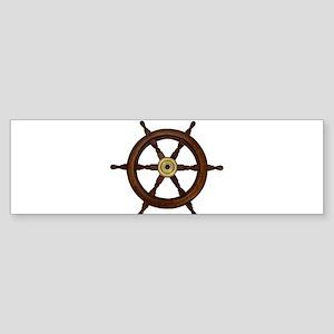 Ships wheel, boat wheel, old oak st Bumper Sticker