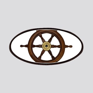 Ships wheel, boat wheel, old oak steering wh Patch
