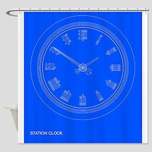 Station Clock Blueprint Shower Curtain