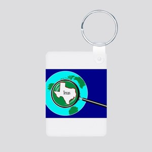Magnifying Glass over Texas Keychains