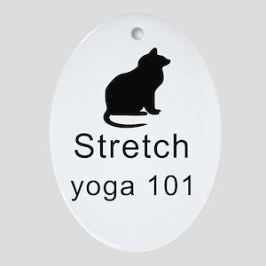 Cat Stretch Yoga Oval Ornament
