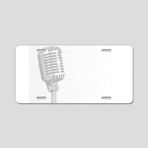 Grey Microphone Background Aluminum License Plate