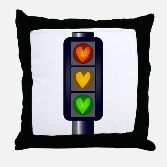 Love Heart Traffic Lights Throw Pillow
