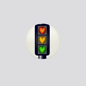 Love Heart Traffic Lights Mini Button