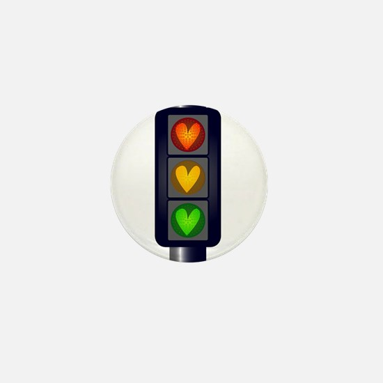 Love Heart Traffic Lights Mini Button