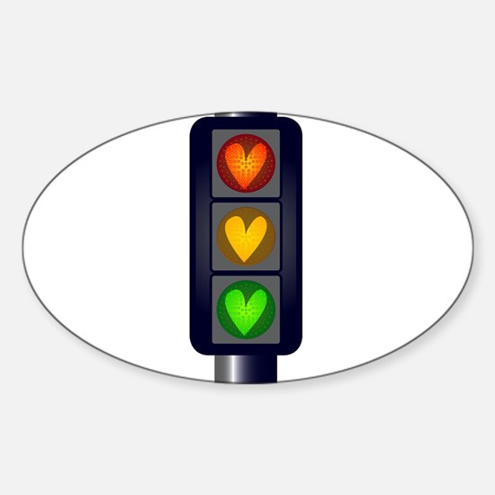 Love Heart Traffic Lights Decal