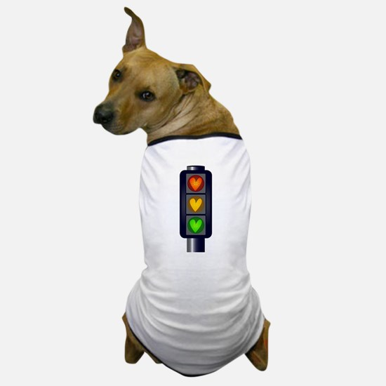 Love Heart Traffic Lights Dog T-Shirt