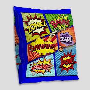 Fun Comic Book Art Burlap Throw Pillow