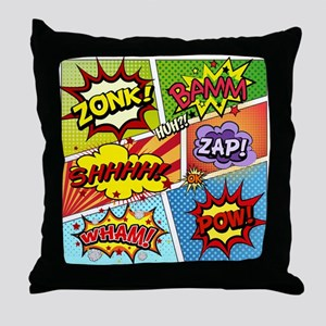 Colorful Comic Throw Pillow
