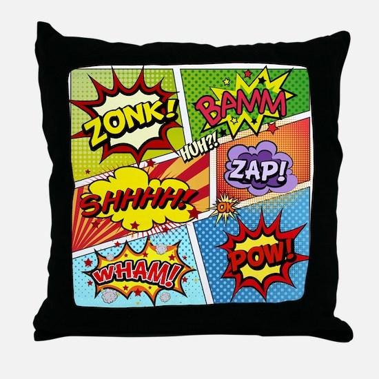 Colorful Comic Throw Pillow