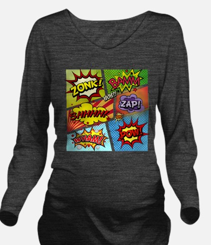 Colorful Comic Long Sleeve Maternity T-Shirt