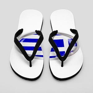 Greece Flag Oval Button Flip Flops