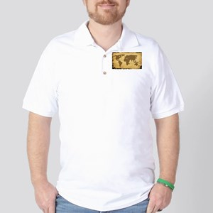 Old World Map On Parchment Golf Shirt