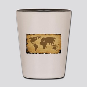 Old World Map On Parchment Shot Glass