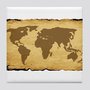 Old World Map On Parchment Tile Coaster