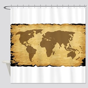 Old World Map On Parchment Shower Curtain
