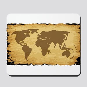 Old World Map On Parchment Mousepad