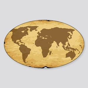 Old World Map On Parchment Sticker