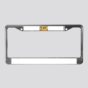 Old World Map On Parchment License Plate Frame