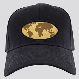 Old World Map On Parchment Black Cap