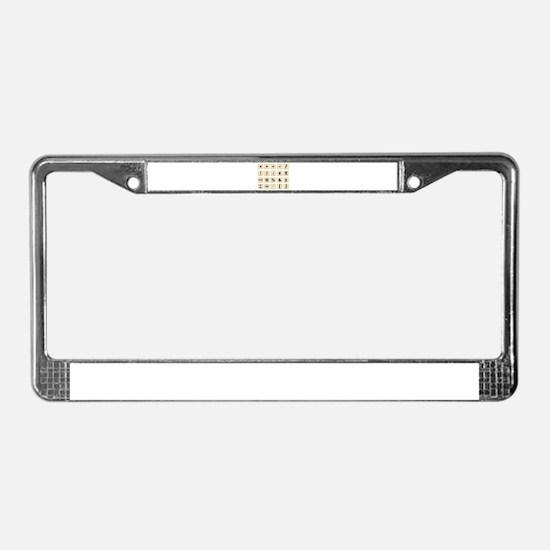 Wooden Math Symbols License Plate Frame