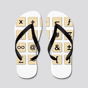 Wooden Math Symbols Flip Flops