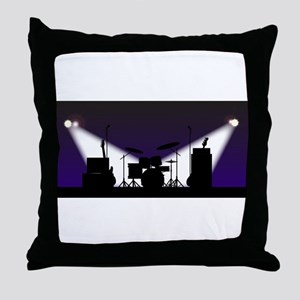Rock Band Stage Equipent Throw Pillow