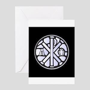 Alpha Omega Glass Window Greeting Cards