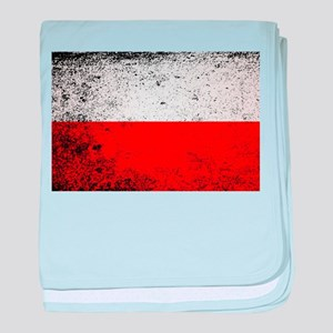 Flag of Poland Grunge baby blanket