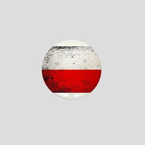 Flag of Poland Grunge Mini Button
