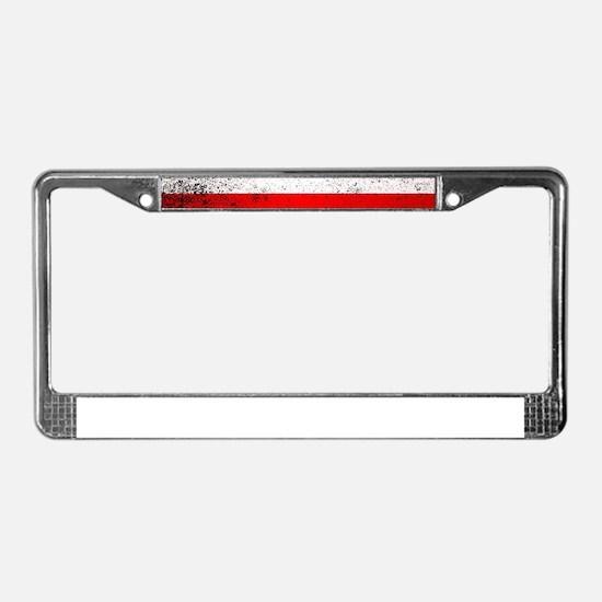 Flag of Poland Grunge License Plate Frame