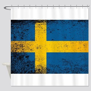 Flag of Sweden Grunge Shower Curtain